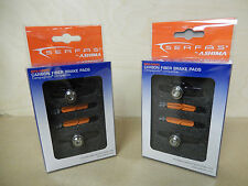 Pair Brake Pads Serfas for Carbon Rims w/Carbon Holders Campagnolo Titanium Nuts