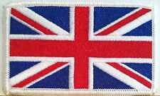 BRITISH Flag Embroidered Patch Union Jack England UK Great Britain Iron-On WHITE