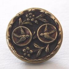 ANTIQUE BRASS BUTTON 2 BIRDS AND FLOWERS 9/16""