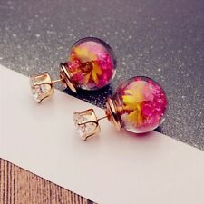 Sided Fashion Glass Personalized Wild Earrings Ball Female Double-sided