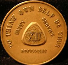 Alcoholics Anonymous AA 14 year Bronze Medallion Token chip coin Soberity Sober