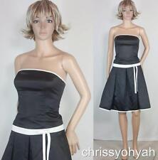 VTG 80s Gunne Sax Black White Satin Strapless Full Flare Skirt Prom Party Dress