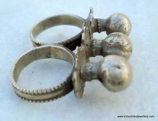 VINTAGE TRIBAL OLD SILVER DOUBLE RING ECL FOR TOW FINGER