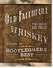 Old Faithfull Bootleg Whiskey USA Metall Werbung Vintage Plakat