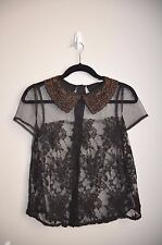 NWOT Lush black Sheer lace Embelished bead peter pan collar button blouse top S
