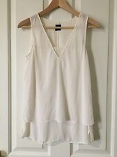 David Lawrence 100% Silk Blouse Tank Top Sleeveless Cream White Size 8 Work