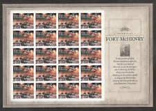 2014 #4921 The War of 1812 – Fort McHenry Pane of 20 Without Die Cuts MNH