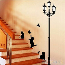 Removable Animals Cats Street Lamp Lights Decal Paper Wall Sticker New Arrival