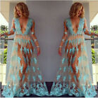 Summer Women Lace Mesh Club Evening Party Beach Bikini Cover Up Long Maxi Dress