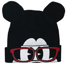 Mickey Mouse Disney Glasses Flip-Down Cuff Wink Adult Winter Knit Beanie Hat
