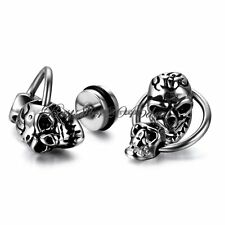 Mens Womens Stainless Steel Silver Hoop Double Skull Screw Back Stud Earrings