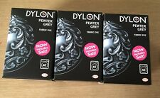 3 X Dylon Machine Use Fabric Clothes Colour Dye 350g Pewter Grey
