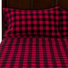King BUFFALO PLAID FLANNEL SHEETS SET 4 piece set Black Red Large Check