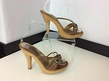 DOLCE & Gabbana D&G Mules Shoes Size 38 Uk 5 Boxed £295 Tan Leather Heels