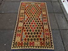 Kilim Old Traditional Hand Made Afghan Oriental Kilim Yellow Red Wool 163x95cm