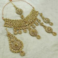 Bollywood Traditional Goldtone CZ Necklace Set Indian Bridal Wedding Jewelry