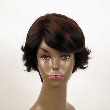 perruque femme afro 100% cheveux naturel courte méchée noir/rouge WHIT 02/1b410