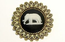 Wedgwood: Lapel Pin, Black Jasperware With White Elephant On Antique Brass