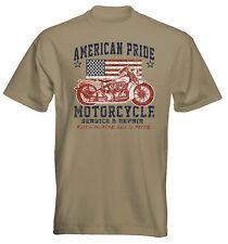 Velocitee Mens T-Shirt American Pride Classic Biker Motorcycle Harley W15711