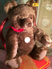 """15"""" STEIFF 0202/41 CHOCOLATE BROWN ARTICULATED BEAR W TAGS RIBBON BUTTON IN EAR"""