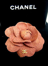 Auth.100% CHANEL CC LOGO Pin Brooch Camellia Canvas Diameter 9 cm.