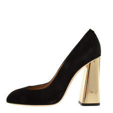 DSQUARED2 D2 New Woman Black Gold Block Heel Pumps Suede Shoes Made Italy Sz 39
