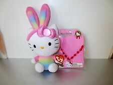 """TY Beanie SanRio Hello Kitty  Easter Bunny Ears 7"""" Tag    Kids Necklace   Lot K2"""