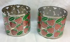 Pillar Candle Holder For Bath and Body Works 3-Wick Candles, Strawberry Design.