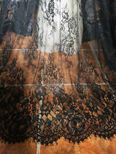 "Lace Fabric Black Eyelash Floral Wedding Bridal Fabric Scalloped 59""width 1 yard"