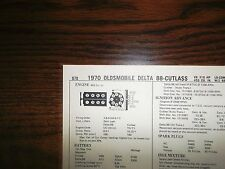 1970 Oldsmobile Series 455 CI V8 2BBL SUN Tune Up Chart Excellent Condition!