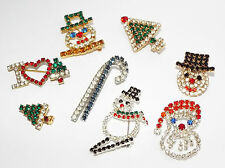 Vintage CHRISTMAS jewelry lot costume 8 Pins brooches pin brooch Rhinestone tree