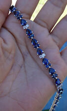 "17ct AA sapphires 1ct Diamond tennis bracelet 14k WG 7.25"" $16k Value"