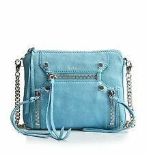 Botkier Bag Logan Crossbody Soft Italian Bubble Leather Chain Strap Blue