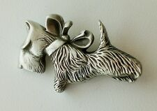 Pewter Scottie Dog With Bow Brooch Gift Idea