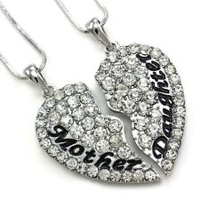 2PCS Mom Mother Daughter Best Friend Pendant Necklace Charm Mother's Day Heart