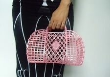 Sac à main panier basket plastique rose jelly rétro vintage shopping à assembler