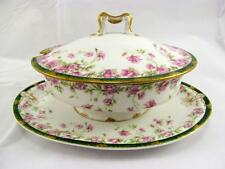 Vintage Haviland & Co. Limoges Gold Pink Roses Soup Sauce Covered Serving Dish