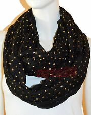 New Black Light Weight All Season Star Gliding Crinkle Infinity Scarf Loop Cowl