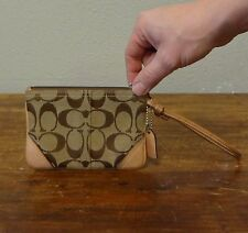 COACH Brown Leather Signature Canvas Small Slim Zip Wristlet Clutch - 4 x 6