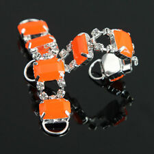 Orange 2Pcs Glass Rhinestone Silver Strass Bikini Belt Buckle Sliders Ribbons