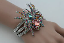 New Women Silver Metal Fashion Cuff Bracelet Spider Big Charm Bangle Halloween