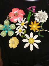 Vintage Lot Of 8 60s Enamel Flower Brooches