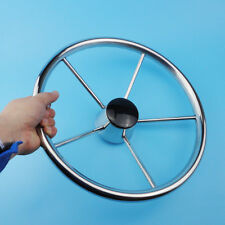 5 Spoke Destroyer Style Stainless Boat Steering Wheel 13-1/2'' Perfect Goods