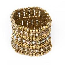 Wedding Bridal 3 Row Gold Crystal Rhinestone Stretch Elastic Cuff Bracelet