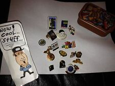 PINBACK PIN COLLECTION FROM ESTATE OLD BANKS AND MORE GO TAKE A LOOK NEAT ITEMS