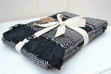 Black Herringbone Throw Blanket 160x130cm Soft 100% Cotton Jacquard