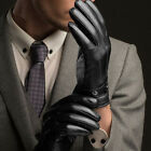 Delicate Men Black Winter Leather Motorcycle Full Finger Touch Screen Gloves