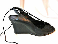 Pelle Moda Black Soft Leather Wedge Heels  Sexy Open Toes Shoes  10
