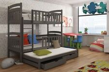 3 SLEEPER BUNK BED GRAY PINE TRIPLE WOODEN SOLID FOAM MATTRESSES AND STORAGE
