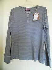 NEW Mountain Hard Wear Womens Thermal Henley Top Navy White Breathable Mesh